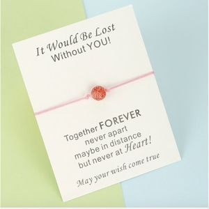 Jewelry - Red Ball Light Pink Thread Rope Bracelet & Card